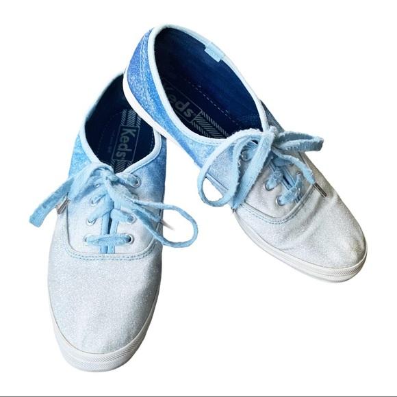 Keds Blue/White Glitter Ombré Champion Sneaker 8.5